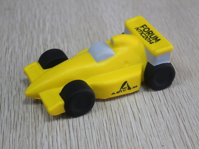 Balle antistress Formule 1 jaune et noire  Abicom